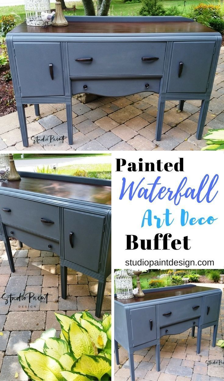 .Painted and Refinished Buffet Sideboard or Media Console Annie Sloan Chalk Paint Coco and GF Java Gel Stain Waterfall Art Deco #paintedfurniture #paintedbuffet #paintedsideboard #DIY #furniturepaintideas #javagelstain #uniquefurniture #anniesloan #water