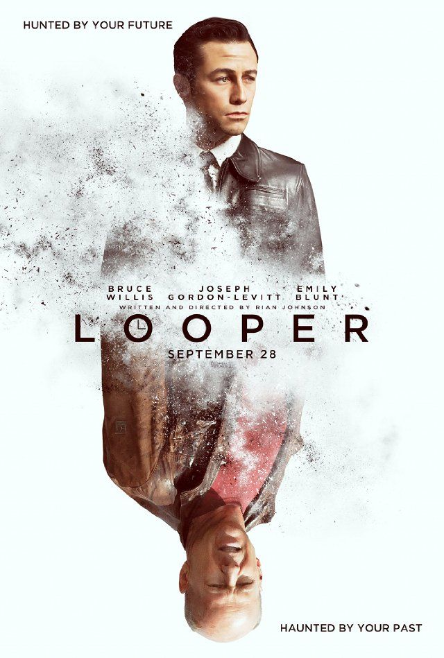 Looper  In 2072, when the mob wants to get rid of someone, the target is sent 30 years into the past, where a hired gun awaits. Someone like Joe, who one day learns the mob wants to 'close the loop' by transporting back Joe's future self. (If you watch the trailer its easier to understand)