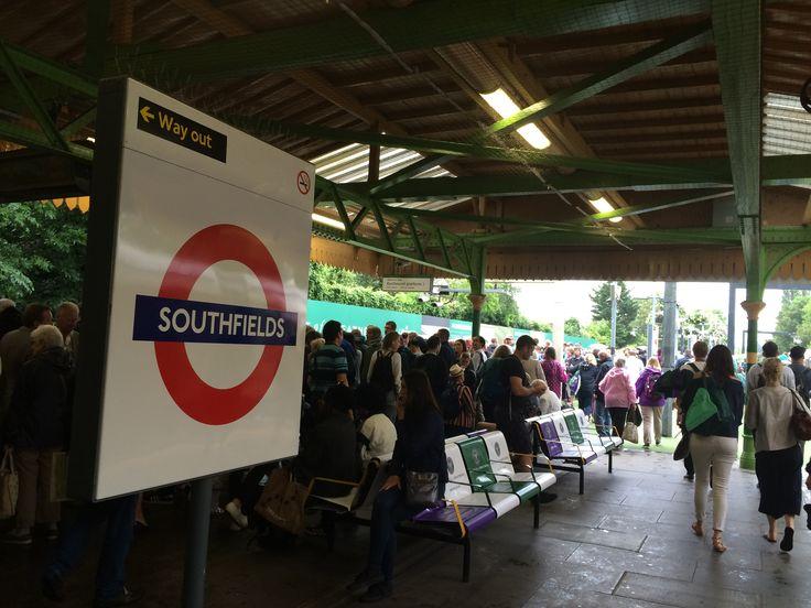 Southfields station during Wimbledon tennis week