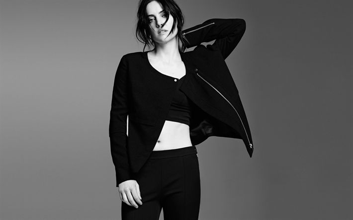 Download wallpapers Jessica Stroup, American actress, black and white photoshoot, black suit, American celebrities