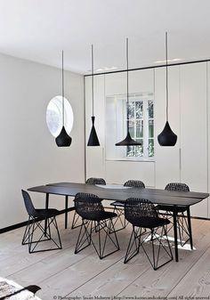 DECORATING WITH BLACK PENDANT LIGHTS| minimal decor , simple and elegant | www.bocadolobo.com #diningroom #diningchairs