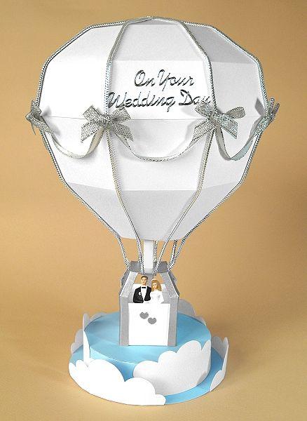Card Craft / Card Making Templates - Hot Air Balloon, wedding version