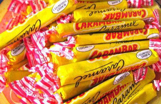 Carambar Caramel - from France. Comes with jokes inside the wrapper, kinda like double bubble?