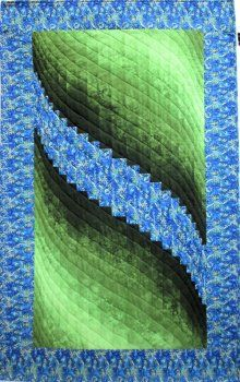Two Fabric Bargello Green Swirl Wall Hanging Quilt Kit