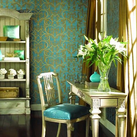 Turquoise Decor Vintage   Love How The Chair Seat Picks Up On The Wallpaper  Color  And Its A Perfect Writing Desk For A Small Room