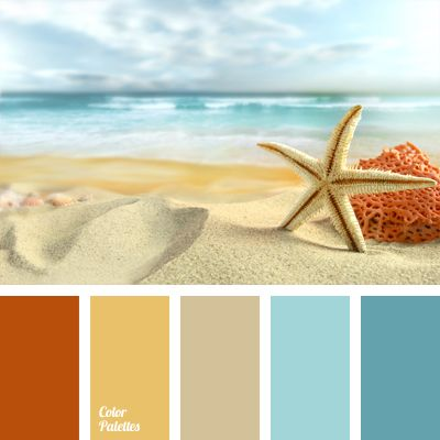 Colours of the sea are gathered in this marine colour palette. Such as sand, celadon and colour of coral. This colour combination suits well summer beach clothes decor and beach accessories. This shades can also be used for light summer clothes. Colours of this palette can be used for colouring of marine boats.