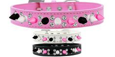Double Crystal With Black, White And Bright Pink Spikes Dog Collar http://www.collarplanetonline.com/dog-collars/double-crystal-with-black-white-and-bright-pink-spikes-dog-collar/ A stunning spiked dog collar with two rows of clear hand set crystals with black, white and bright pink spikes on faux leather.