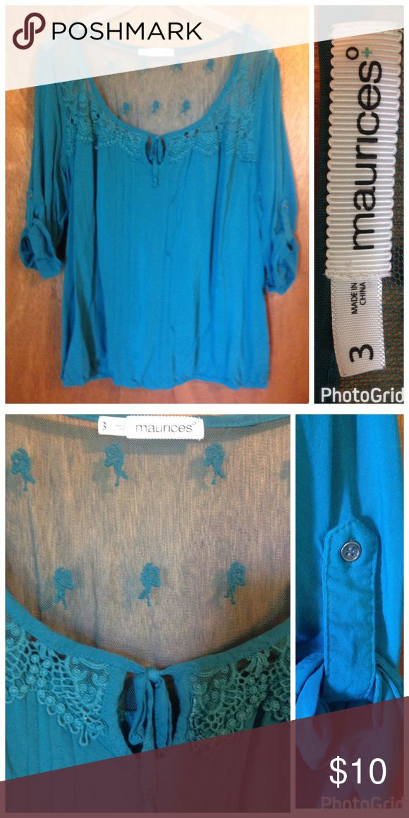 Nice teal blouse from Maurice's.  Size 3X Pretty summer teal blouse with lacy back and bottom tab sleeves. Maurice's size 3X. Tops Blouses