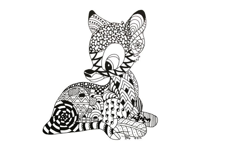Bambi Zentangle by NeverDoubtILove on deviantART