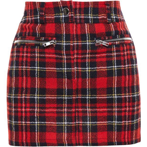 FILLES A PAPA Tartan Wool Mini Skirt ($335) ❤ liked on Polyvore featuring skirts, mini skirts, bottoms, faldas, gonne, red wool skirt, plaid miniskirt, short red skirt, short mini skirts and wool skirt
