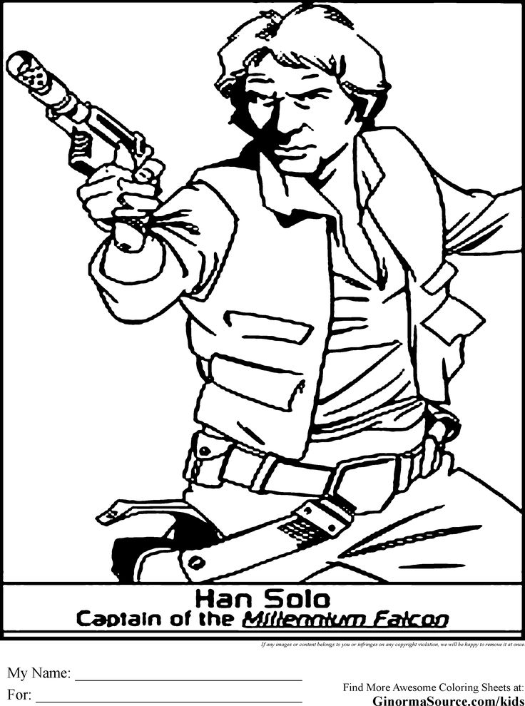 Star Wars Coloring Pages Han Solo Harrison Ford Plays Has A Character Loner But Sees The Value Of Community Pilot Millennium Falcon