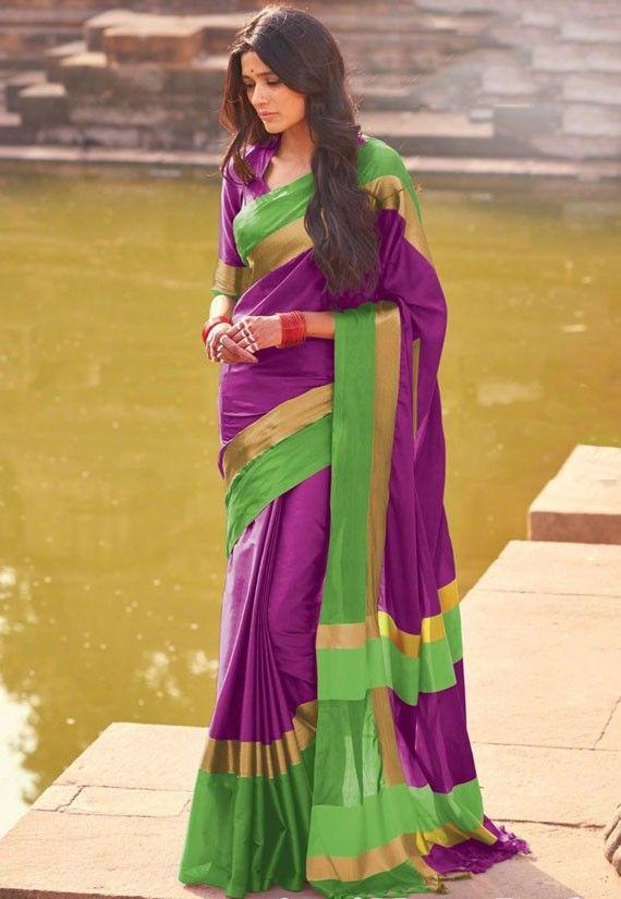 Magenta and Green Cotton Silk Saree