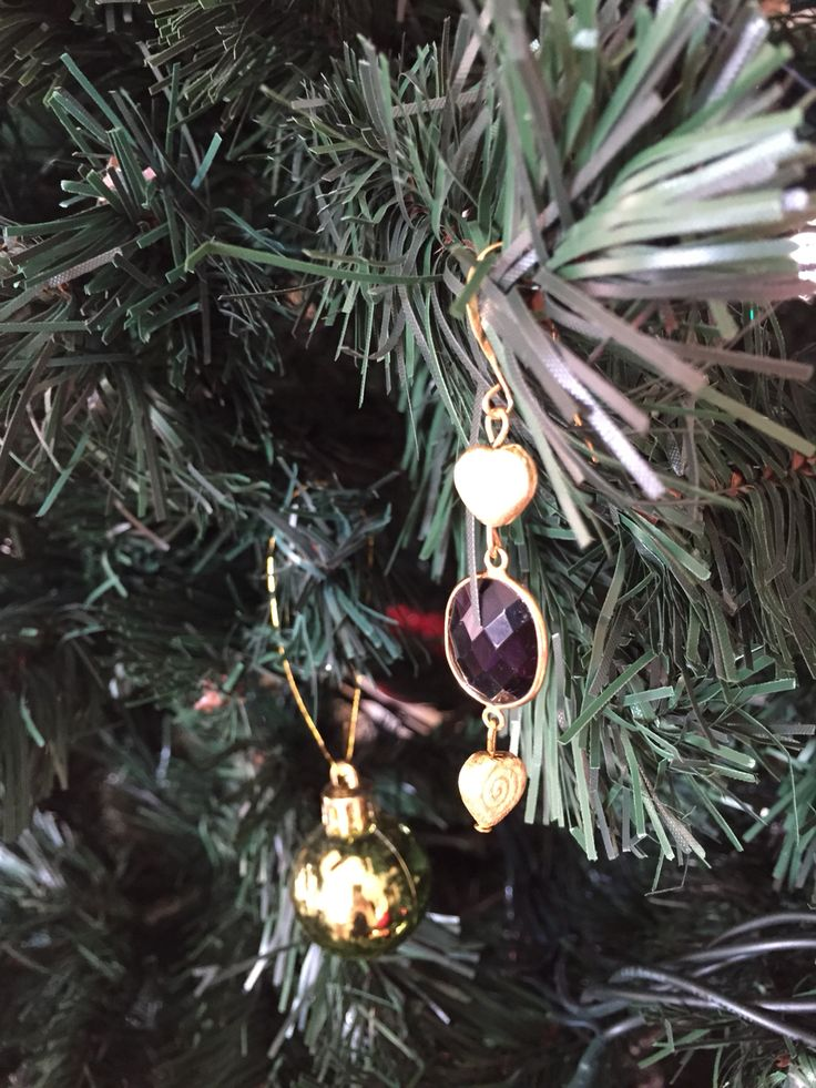 Gold plated earrings 22k with amethyst