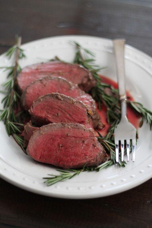 Beef Tenderloin with a Red Wine Mushroom Sauce