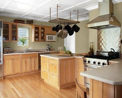This Kitchen Paint Color Scheme Is A Fresh Look Of Minty Green Against The  Light Wood Of The Frameless Kitchen Cabinets. Steamed Milk, A Rich  Off White, ...