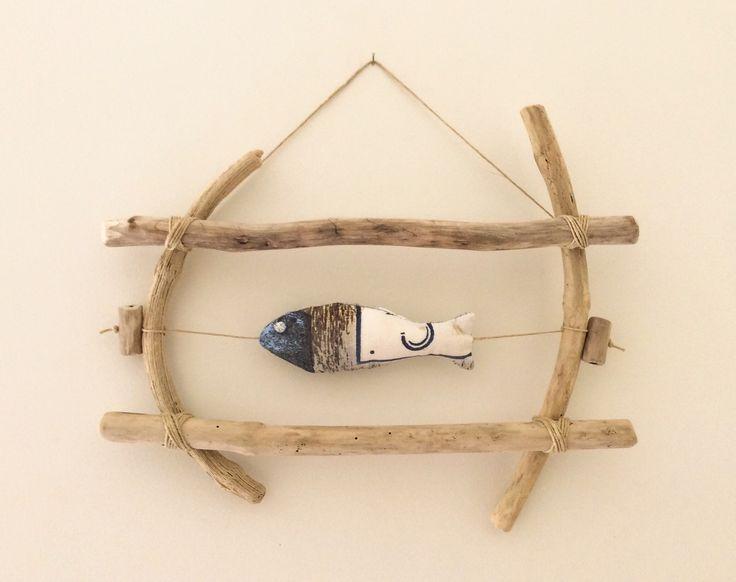 cadre en bois flott et poisson en tissu par latelier de corinne dcorations - Cadre Bois Flotte Decoration