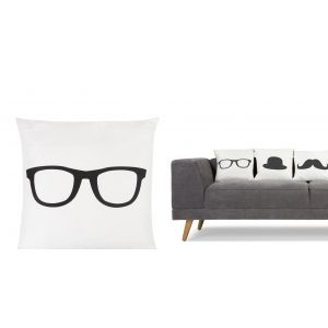 Jeeves Glasses Scatter Cushion 40 x 40cm in black and white | made.com