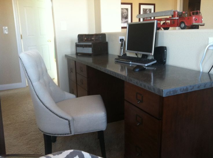 my new ballard designs desk is here tuscan brown with the zinc top - Ballard Design Desks
