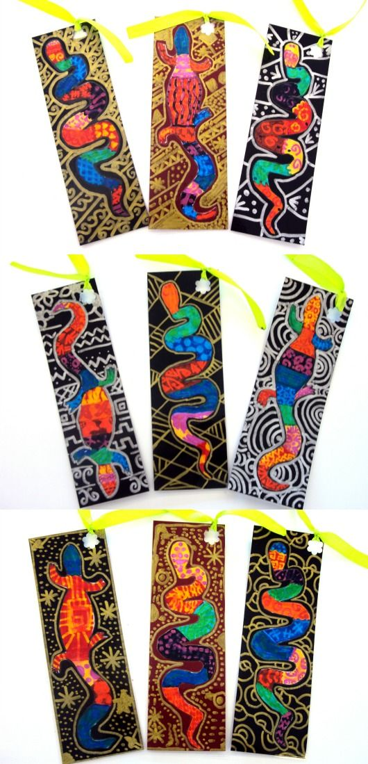 Plastiquem...black card stock and metallic sharpies. Great bookmarks!
