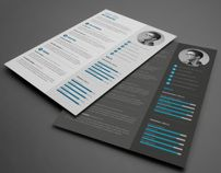 I love this clean, crisp resume design in two different styles of dark and light.   Great resume style / resume design / curriculum vitae / CV style