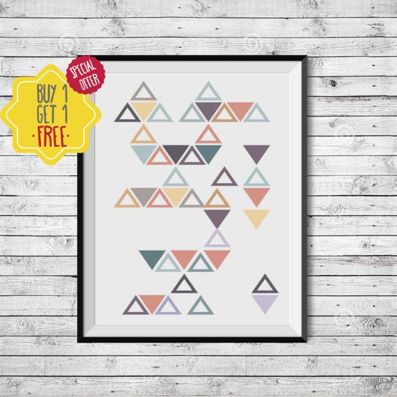 Scandinavian print, Pastel painting, Colorful wall art, Geometric shapes, Triangle, Wall art,Comfort color,Printable nordic decor,Print home.  This listing is for an INSTANT DOWNLOAD of 2 JPEG files of this artwork. Just purchase the listing and your print is ready to download instantly. Why not print one for a friend, or just for fun?  Once you purchase the poster you will receive the following files:  - 1 JPEG high resolution (300 dpi) file with trim marks 8x10 inches. - 1 JPEG high…