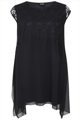 Black Chiffon Dress With Lace Top Panel And Hanky Hem