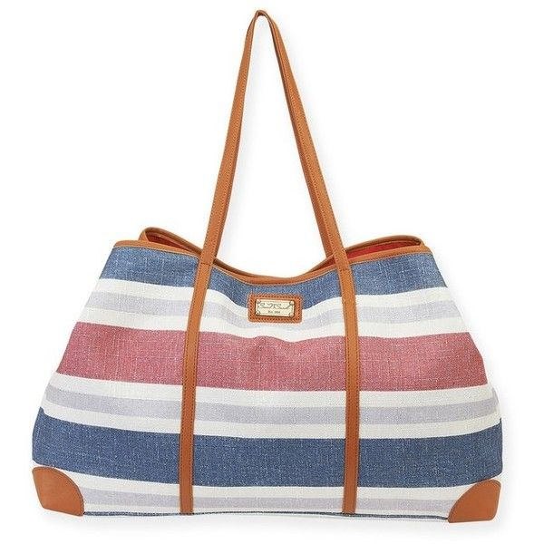Sun N Sand Stripe Gap Tote (£26) ❤ liked on Polyvore featuring bags, handbags, tote bags, swimwear, striped tote bags, striped beach tote, oversized beach tote, oversized tote bags and straw tote