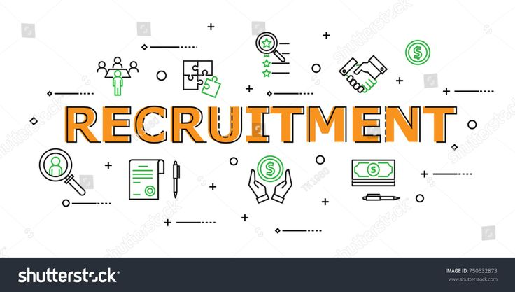Recruitment Word with Icon Set in Concept of Hument Resource Management. Flat Thin line designed vector illustration on white Background. Editable Stroke.