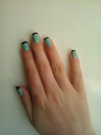 Black and turquoise french nails