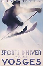 VINTAGE POSTER EAST RAILWAYS WINTER SPORT IN THE VOSGES - FRANCE T.DORO ci. 1929