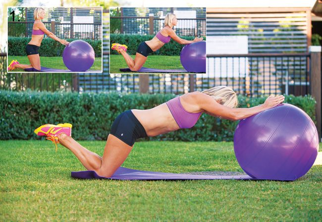 Target: Glutes, abs and upper body. This Fit Ball roll out takes precision!