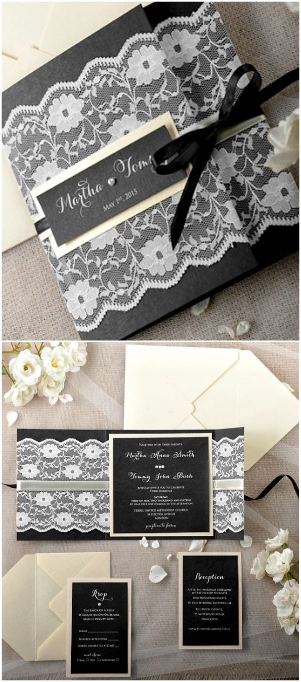 lace wedding invitation wrap%0A Black lace wedding invitation  stylish  u     elegant  wedding  ideas