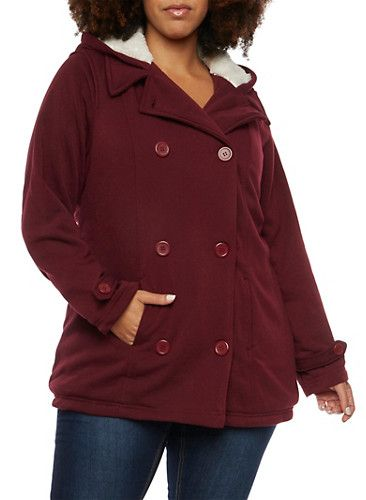 Plus Size Peacoat with Faux Shearling Lining,BURGUNDY