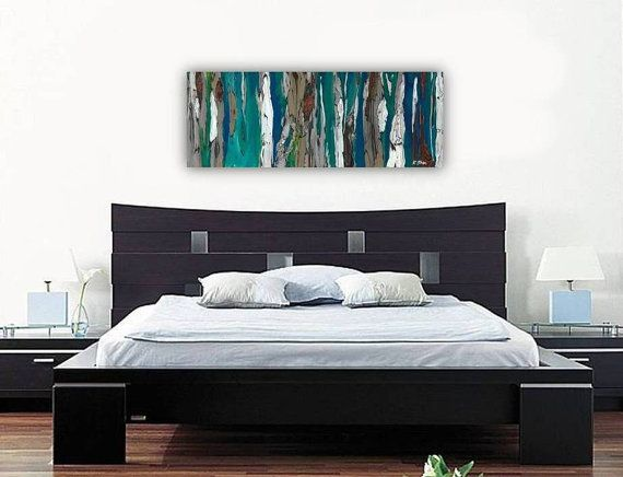 Large Wall Art Print Abstract Landscape Tree Canvas Long Painting Colorful Turquoise Teal Blue Kitchen Artwork