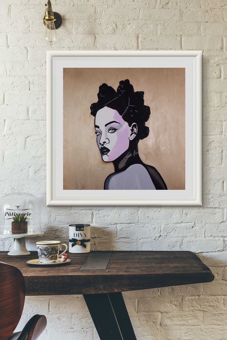 $99 Rebelle Fleur (Square) Art Print   This unique artwork of Rihanna Fenty was hand painted by Artist and Designer Juzpop with acrylic paint and ink. The original art work was then digitally reproduced as Limited Edition giclée art prints, only 100 will ever be made. Free shipping Australia wide.  #rihanna #interiordesign