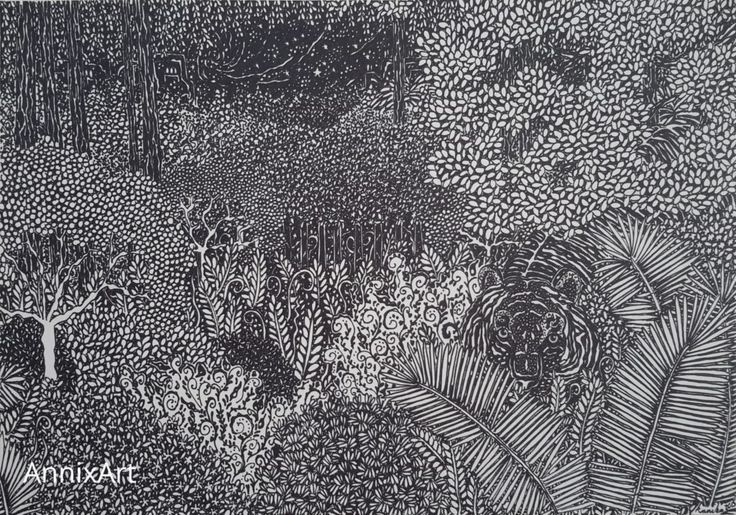 Detailed black and white drawing of a tiger. Starry night time forest illustrations. Art by AnnixArt.