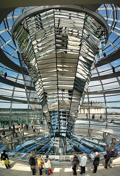 The glittery cone inside the Reichstag dome - Berlin, Germany. It's very impressive, but not worth joining the line. Book dinner and see it for free.in the Reichstag restaurant, skip the line and see the roof for free.