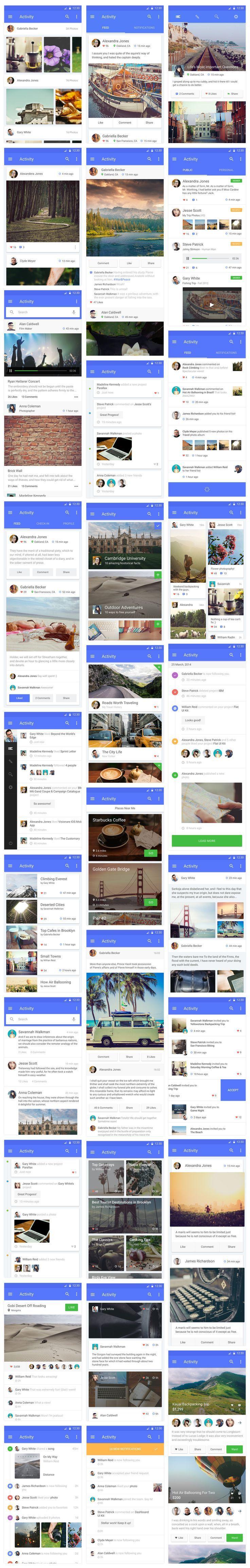 Material UI Kit - Activity   Material Design #mobile #app