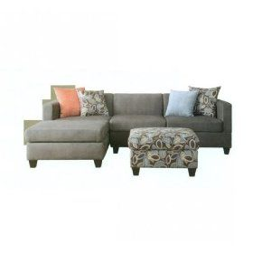 3 Pieces Charcoal Microfiber Sectional Sofa Set with Ottoman $799.99