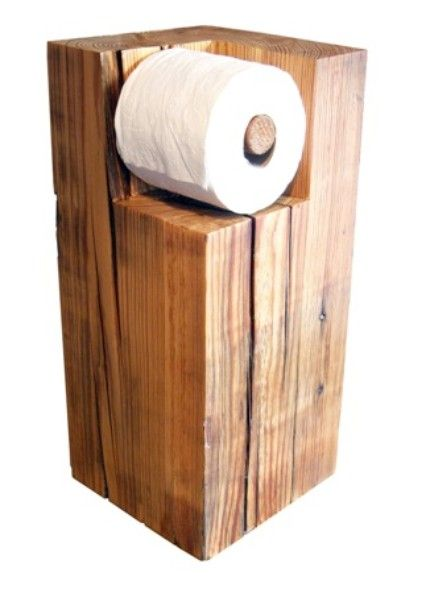 Wood toilet roll holder