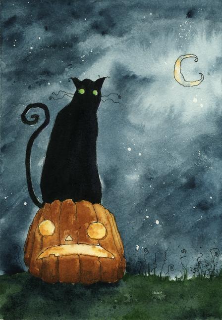 Black cat halloween Art