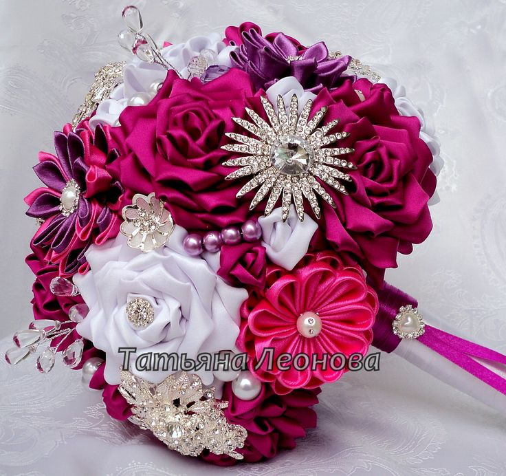 Fabric Wedding Bouquet Brooch bouquet Scarlet White and by LIKKO