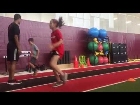 Jump Start athletes Emily and Nick performing speed skips  These