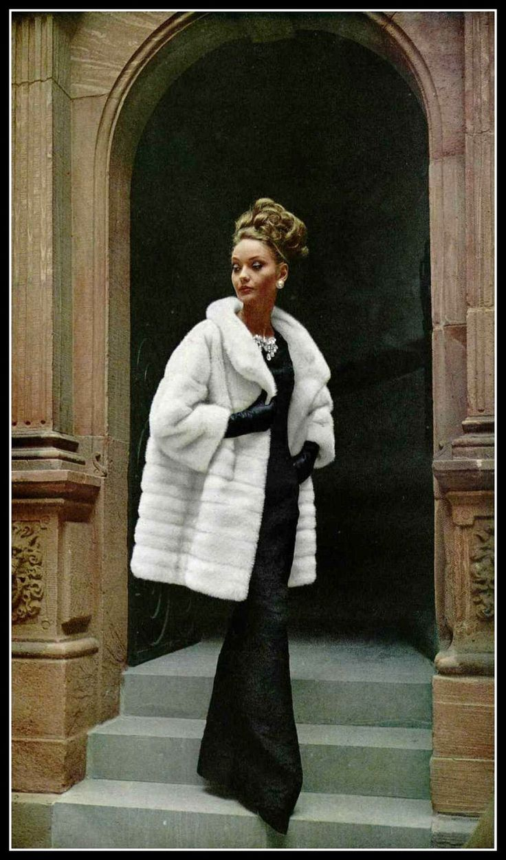 Model in Azurene EMBA mink coat and evening gown by Christian Dior, photo by Virginia Thoren-Rice at the Grand Hessicher Hof, Frankfurt, Germany, 1963
