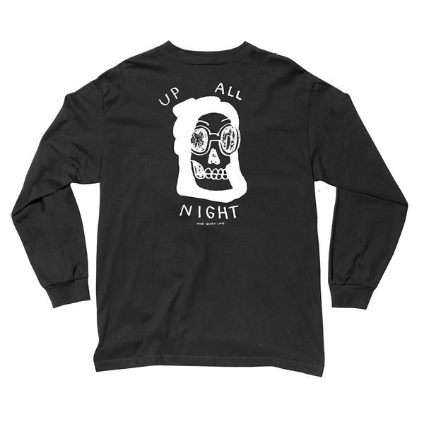 Up All Night Long Sleeve T Black