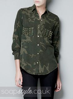 EastEnders Roxy Mitchell // Rita Simons // Roxy's Studded Camouflage Shirt - 4th October '13 [ Click photo for details ▴▴ ]