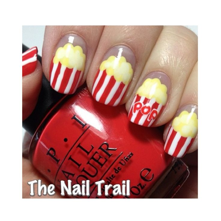 Movie night, pop corn nails..