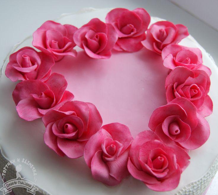 Roses cake, sugar flowers