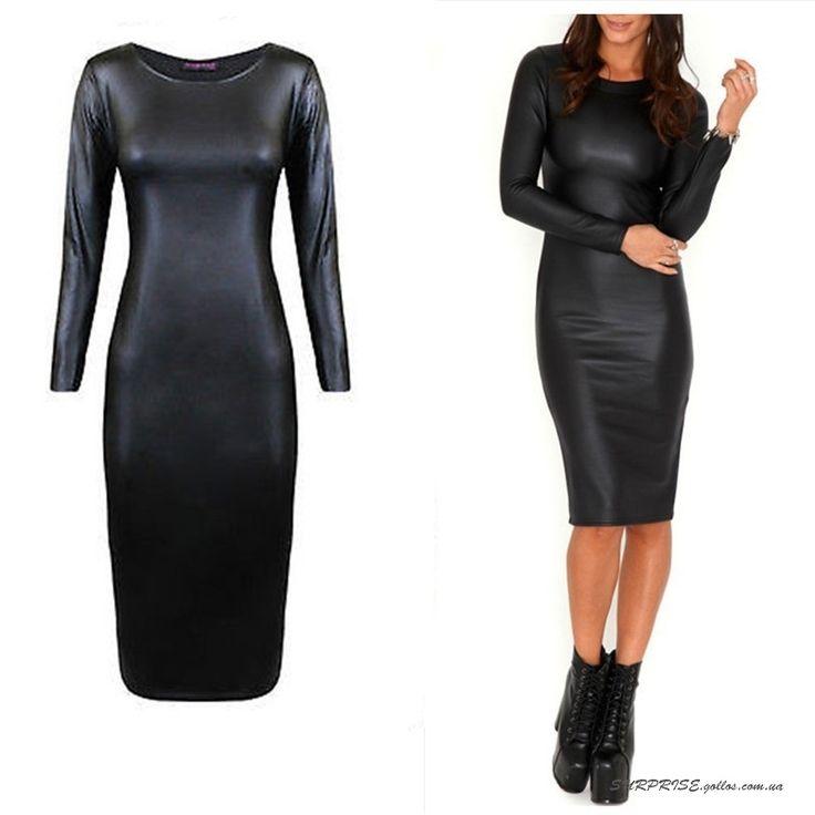 Черное женское платье из экокожи