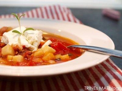 Grønnsakssuppe med bønner og feta » TRINEs MATblogg
